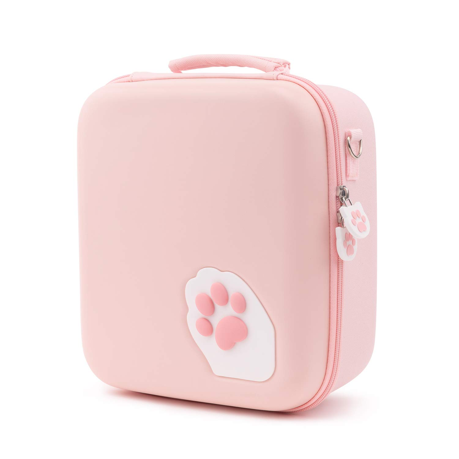 GeekShare Pink Cat Paw Case Compatible with Nintendo Switch, Protective Travel System Case with 18 Game-Card Slots for Switch Console, Pro Controller, Dock and Accessories