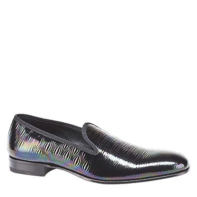 77fa4dd646a1 Mezlan Men s Duque Rainbow Marbleized Embossed Calfskin Slip On Formal Pump  Black ...