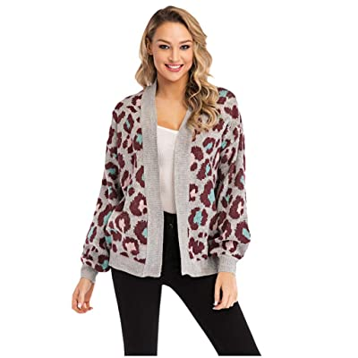 Women's Knitted Cardigan Jacket | Ladies Fashion Leopard Print Loose Fit Open Front Sweaters Coat | Casual Long Sleeve Short Outwear: Garden & Outdoor