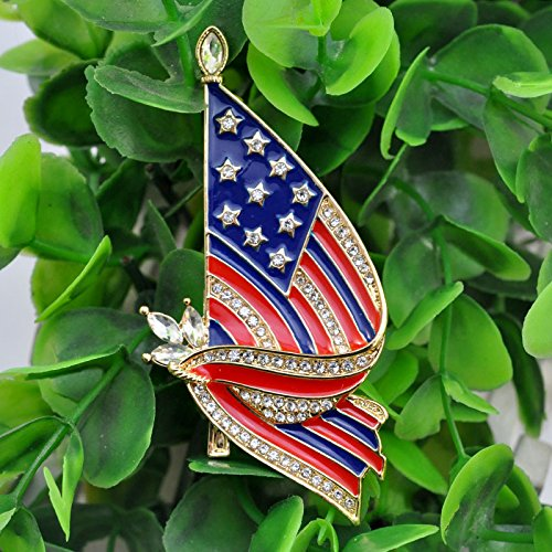F-U Flag Brooches,Proudly Made in USA American Flag Jewelry Silver Enamel Lapel Pin by F-U (Image #3)
