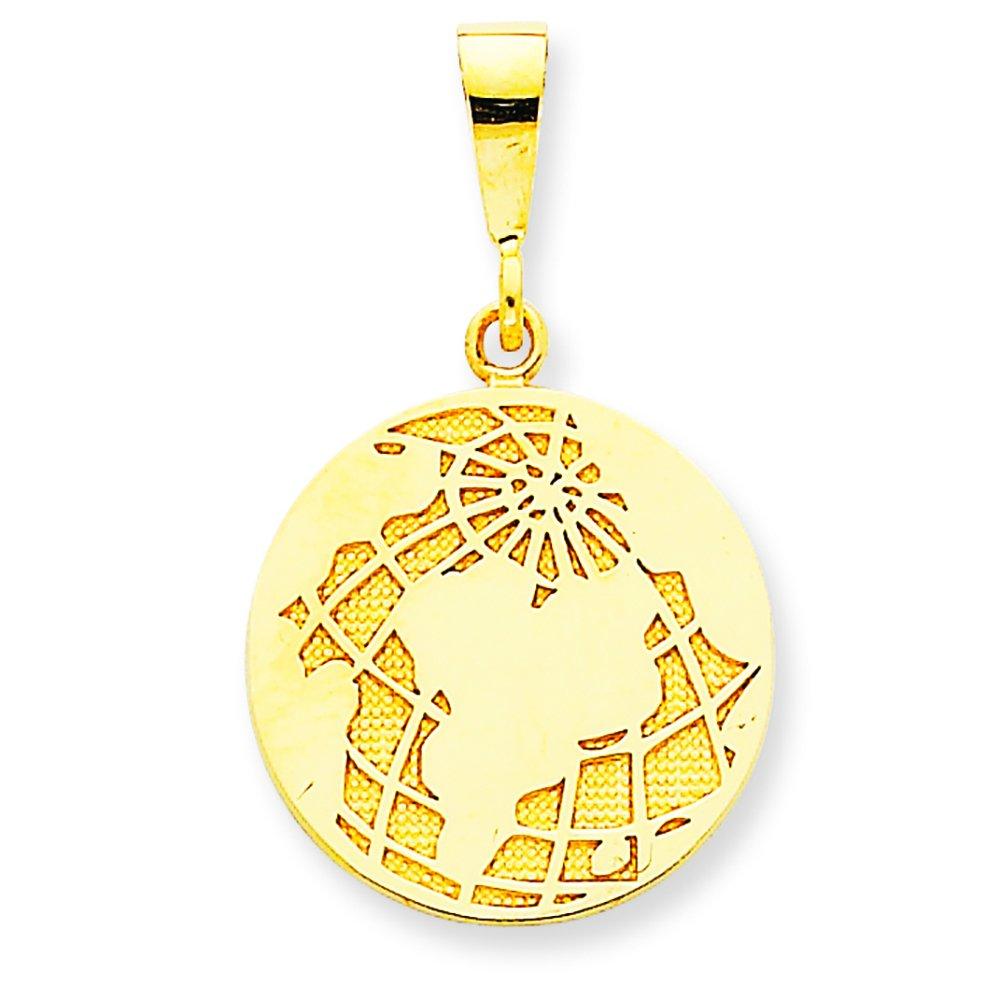 14K Yellow Gold Globe Charm Pendant