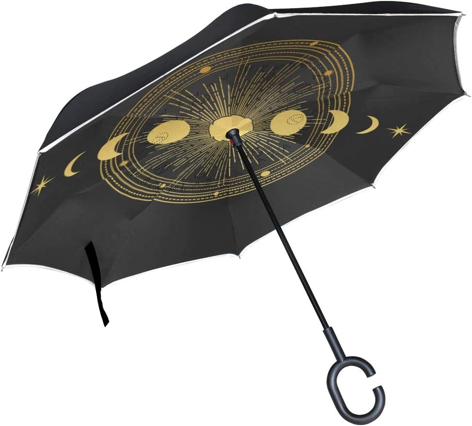 Moon Orbits And Stars On Black Background Double Layer Windproof UV Protection Reverse Umbrella With C-Shaped Handle Upside-Down Inverted Umbrella For Car Rain Outdoor Sun