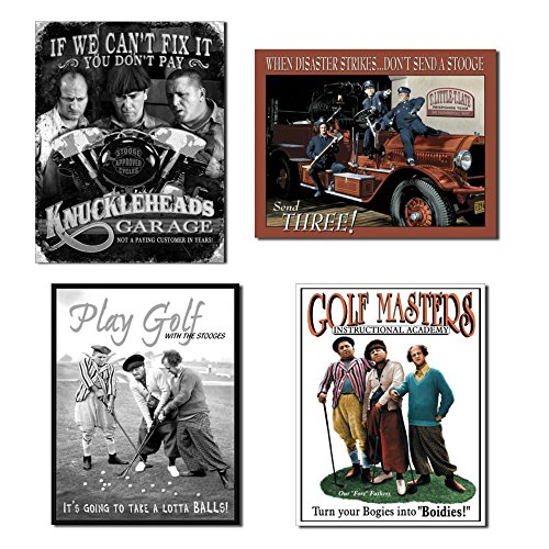 - Bundle Three Stooges Tin Sign Collection - Three Stooges Knuckleheads Garage, Three Stooges Fire Dept, Three Stooges Lotta Balls and Three Stooges Golf Masters