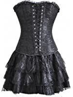 Topmelon Womens Sexy Gothic Lace Up Corset Bustier Dress Short Skirt