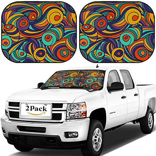 MSD Car Windshield Sun Shade, Universal Fit, 2-Piece for Car Window SunShades, Automotive Foldable Protector Cover, ID: 43803475 Swirl Seamless Pattern Abstract Geometric Tiled Background