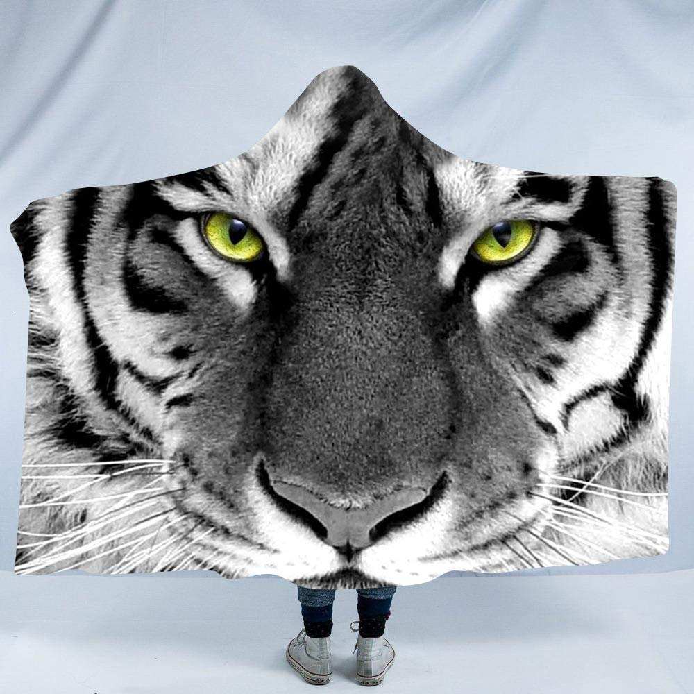 Irisbell Hooded Blanket Tiger Theme Oversized Sherpa Fleece Throw Wearable Blankets Hoodie Cloak (3, Adult(80'' x 60'')) by Irisbell