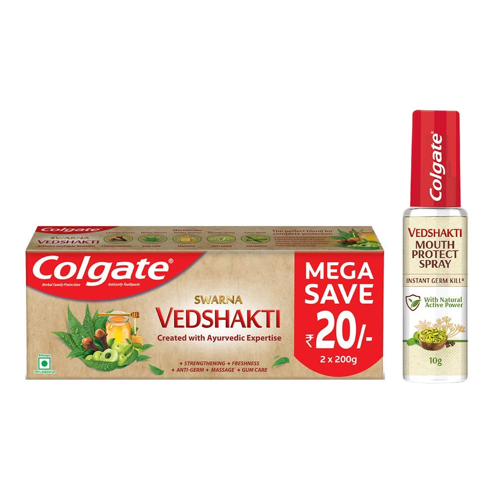 Colgate Vedshakti Toothpaste and Colgate Vedshakti Mouth Protect Spray