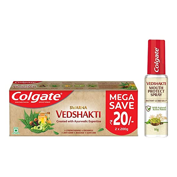 Colgate Vedshakti Toothpaste - 400gm and Colgate Vedshakti Mouth Protect Spray - 10gm