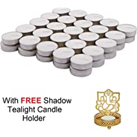 Jhingalala Wax Tealight Candles with Free 1 Piece Metal Shadow Divine Lord Ganesha Tealight Candle Holder