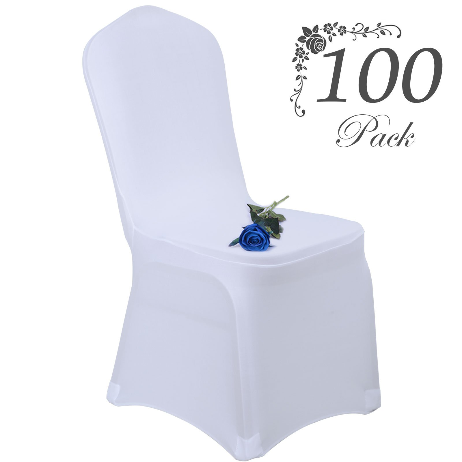 Voilamart Wedding Chair Covers Set of 100pcs Stretchable Polyester Spandex Chair Slipcover for Dinning Banquet Party Ceremony - White