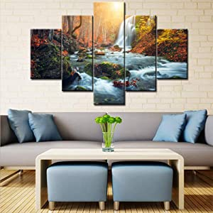 "TUMOVO Large 5 Piece Canvas Wall Art Waterfall Autumn Red Forest Landscape Picture Stream River Scenery Painting Long Canvas Artwork Contemporary Nature Picture for Home Office Wall Decor -60""W x 40""H"