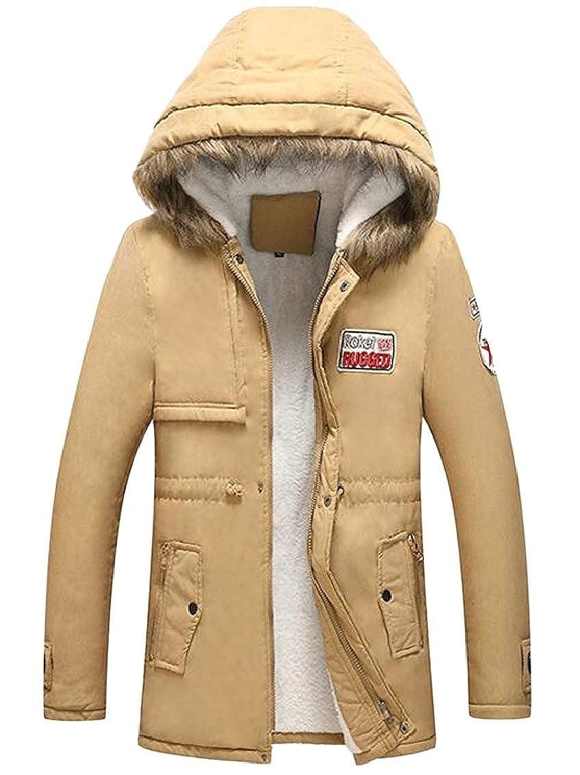 Hokny TD Mens Winter Ourdoors Hooded Mid Length Parka Coat Outwear