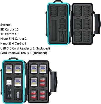 JJC Estuche Impermeable para tarjetas de memorias: 16 x tarjetas Micro SD SDHC SDXC + 10 x tarjetas SD SDHC SDXC con USB 3.0 Lector Tarjetas y Mosquetón: Amazon.es: Electrónica