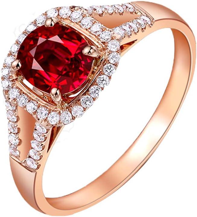 YCGEMS Sólido Oro Rosa de 18 Quilates Real Oval Ruby y Anillo de eternidad de Boda con Diamantes para Mujer (1.097 CT, 5.5 * 6.3 mm),J1/2