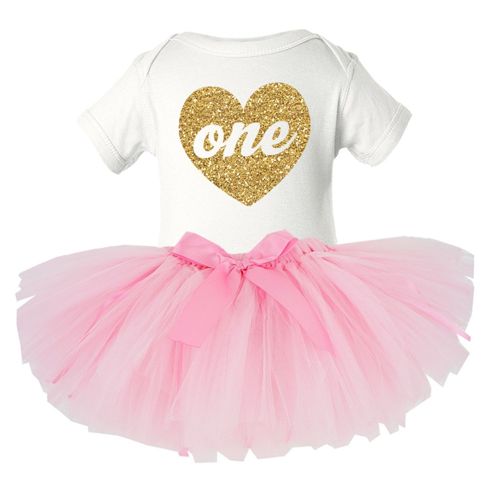 First Birthday Gold Sparkly Heart One and Pink TuTu SET