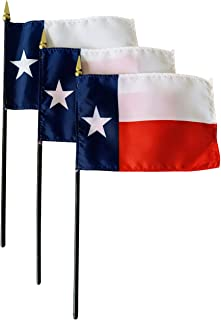 product image for Set of 3 4x6 E-Gloss Texas Stick Flag - Flag Only - Proudly Made in The USA