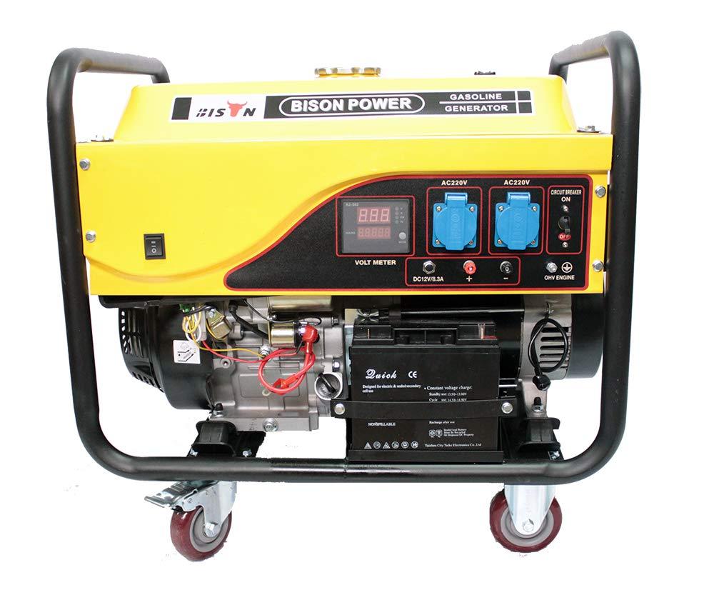 Bison Generador electrico de Gasolina Arranque automatico 8500W Grupo 8, 5Kw Motor 4T: Amazon.es: Jardín