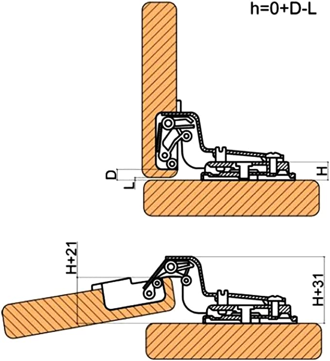 AERZETIX 4x Bisagra de cazoleta curvas 30/° para puerta de muebles C41050