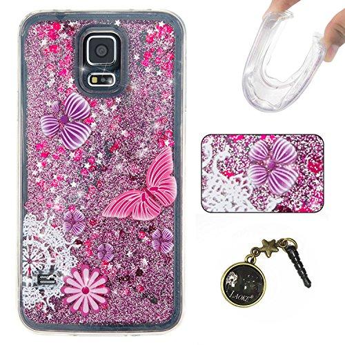 Para Samsung Galaxy S5/i9600móvil, 3d fließen líquido para trucha, arenas movedizas estrella Bling Lujo Shiny brillo Sparkle Cristal Crystal Multicolor de amor diseño Satisfacción Bolsa Funda Para Sa 4