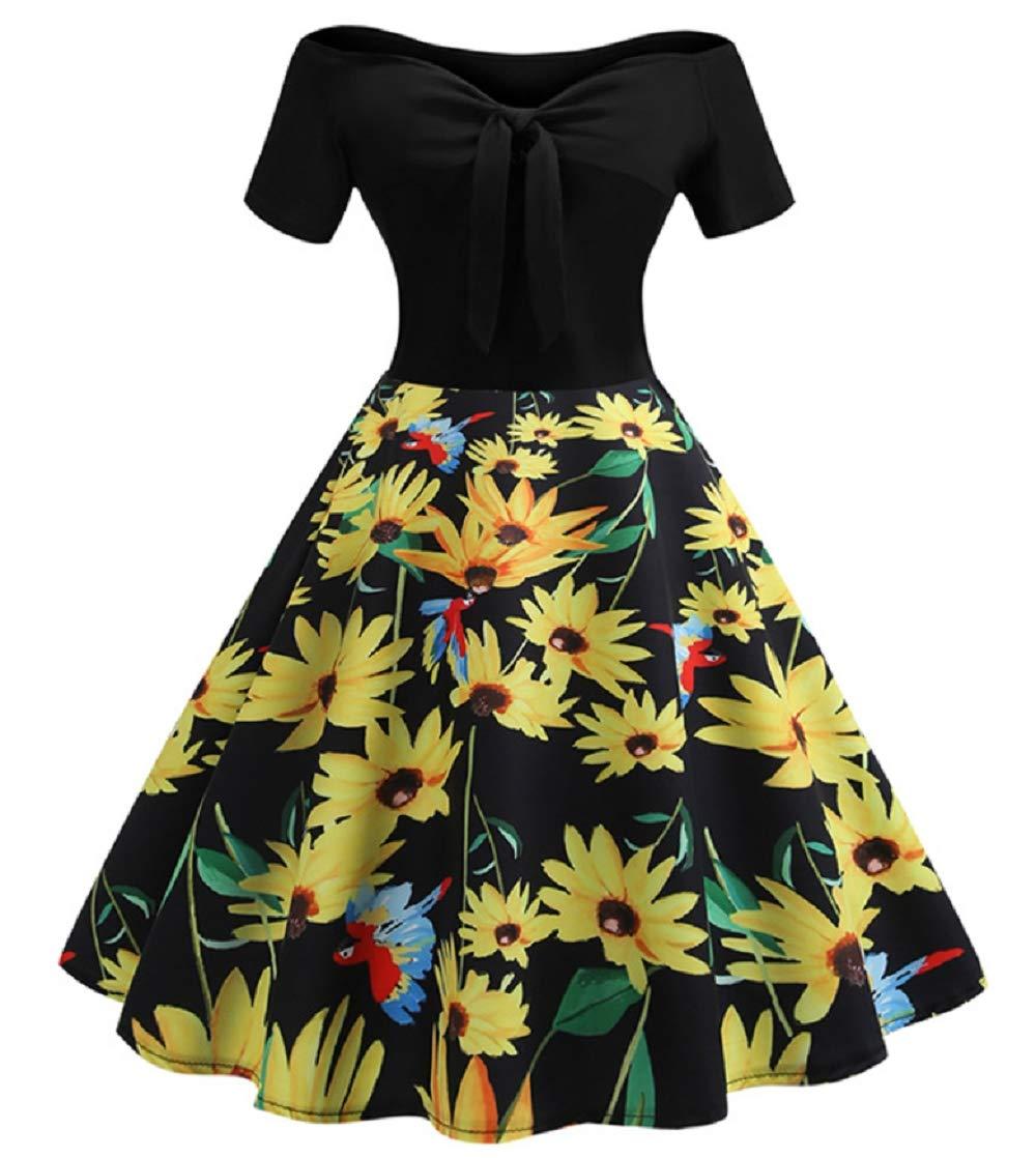 B Small Women 1950s Retro Off Shoulder Dress Vintage Prom Dress Sexy Deep V Neck High Waist Dress for Lady