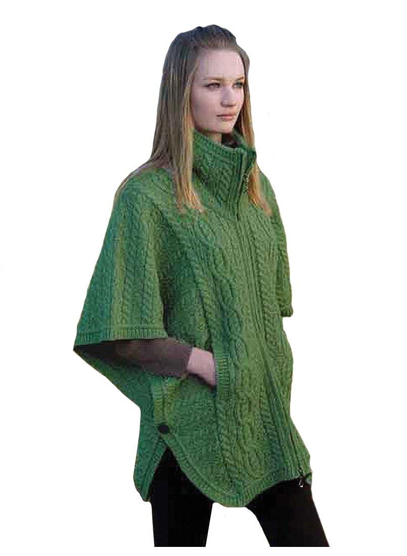 100% Merino Wool Aran Crafts Ladies Knit Double Collar Poncho, Marl Green