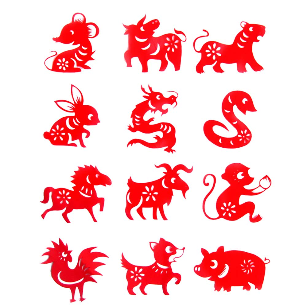 Chinese Pig New Year Window Stickers Red Hand Crafted Chinese Paper Cuts Window/Door / Mirror/Fridge Decoration - Chinese Zodiac 3