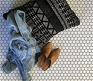 Small Hexagons Tiles Stencil Design for Painting Floor - Penny Tiled Flooring Pattern - Faux Tile Stencil Art