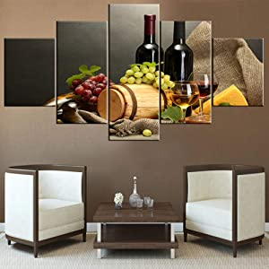 Art Work for Home Walls Red Wine Paintings for Living Room Cheese and Ripe Grapes Pictures Giclee Multi Panel Prints Wall Art on Canvas Bedroom Decor Framed Stretched Ready to Hang(60''Wx32''H)