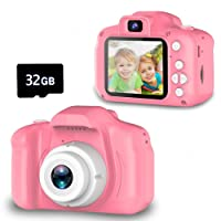 Seckton Upgrade Kids Selfie Camera, Christmas Birthday Gifts for Girls Age 3-9, HD Digital Video Cameras for Toddler, Portable Toy for 3 4 5 6 7 8 Year Old Girl with 32GB SD Card-Pink