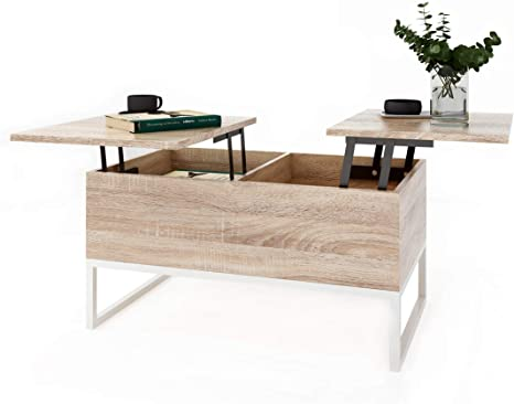 Ease Coffee Table With Height Adjustable Living Room Table Functional Design Coffee Table With Storage Space And Shelf For Office Kitchen Living Room Amazon De Kuche Haushalt