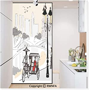 Window Film No Glue Glass Sticker Sketch Singapore City Silhouette with Local People Asian Town Illustration Static Cling Privacy Decor for Kitchen Bathroom 17.7x59.8inches,Light Grey Cream Red