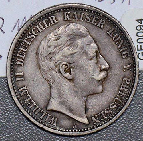 (1905 DE GE0094 Germany 2 Mark A prussia silver DE PO-01)