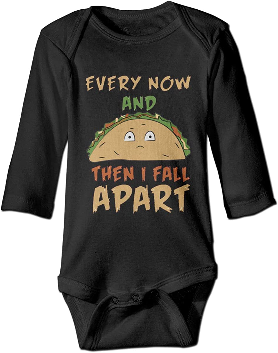 Marsherun Babys Boys Girls Every Now and Then I Fall Apart Taco Long-Sleeve Rompers Playsuit