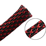 25ft - 1/2 inch Flexo PET Expandable Braided Sleeving – BlackRed – Alex Tech Braided Cable Sleeve