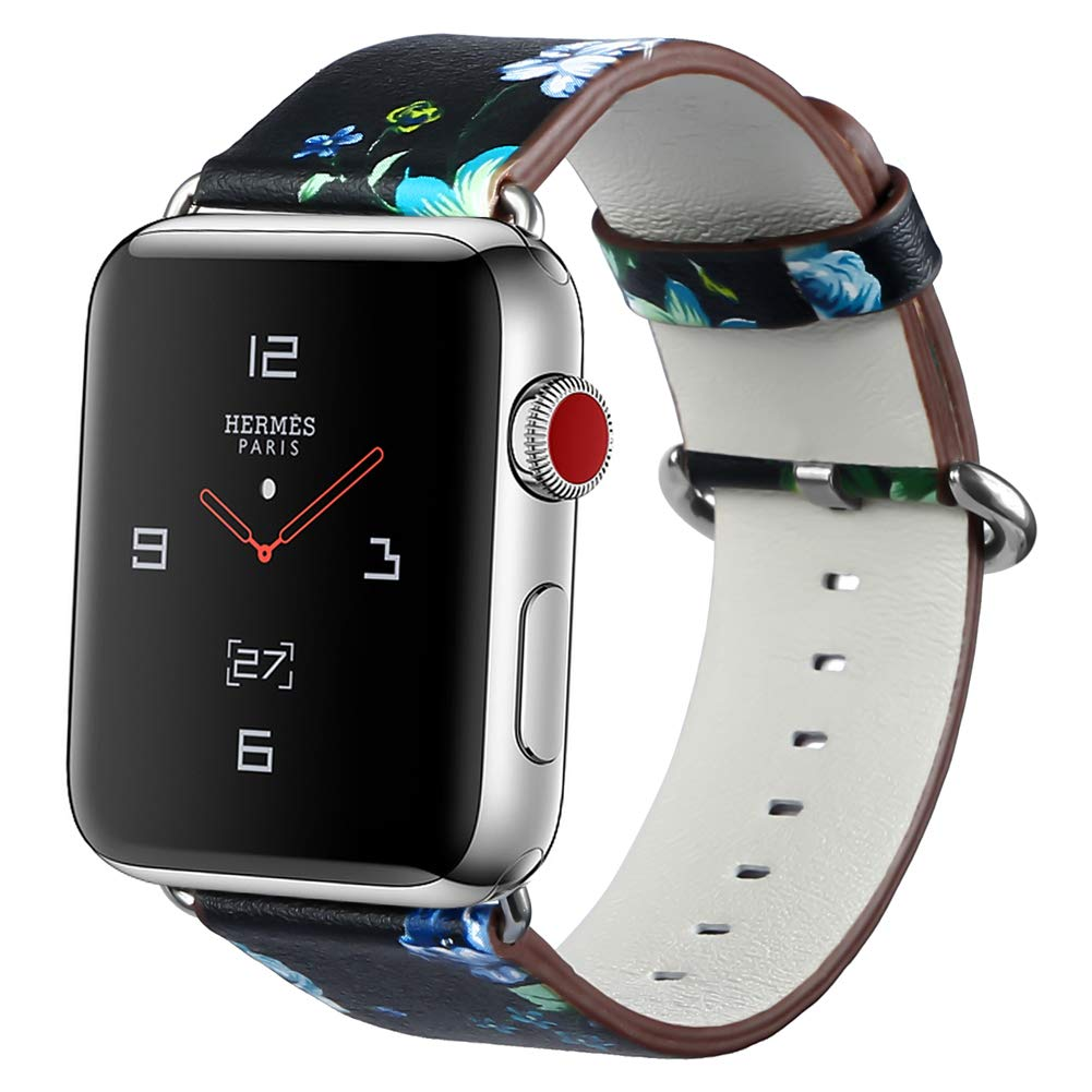Fnova for Apple Watch Band 38mm 42mm, PU Leather Floral Printed Watch Band Strap Replacement Wristband for iWatch Series 1, Series 2, Series 3, Women.(Green, 38mm) m