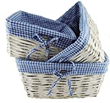 TOPOT Set of 3 Baby Boy Square Nursery Storage Household sundries Picnic Basket with Blue Gingham Fabric