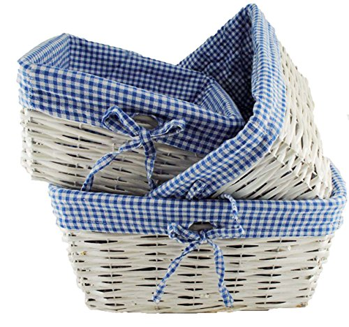 TOPOT Set of 3 Baby Boy Square Nursery Storage Household sundries Picnic Basket with Blue Gingham Fabric -