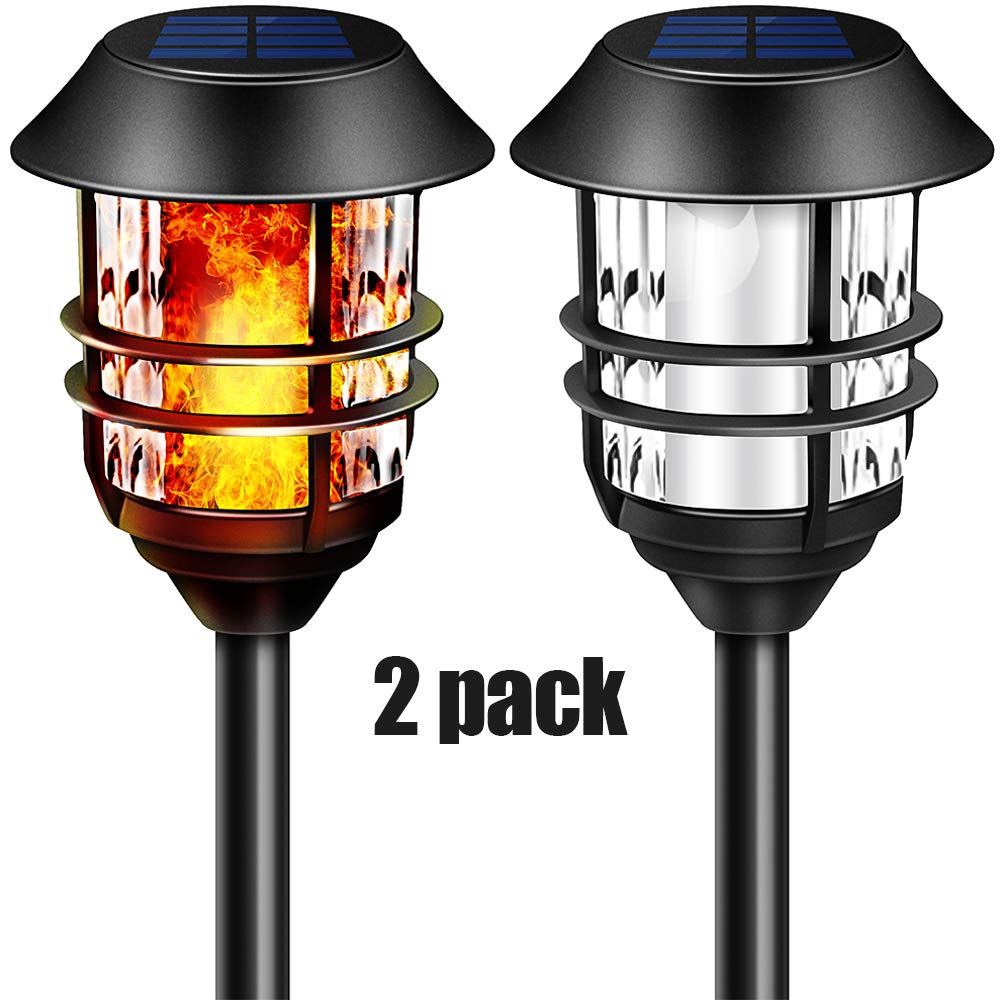 "55"" LED Solar Lights Outdoor Pathway Torches Tall Waterproof Dancing Flickering Flames Heavy Duty Path Lights for Garden Patio Yard Pool 100% Metal Stainless Steel Walkway Lighting Spotlights 2 Packs by Camabel"