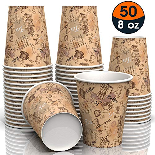 8 oz All-Purpose color Paper Cups (50 ct) - hot Beverage Cup for Coffee Tea Water - disposable Paper Cups