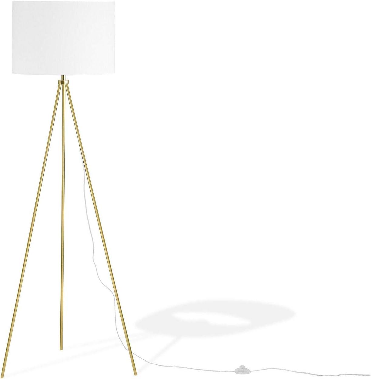 Beliani Moderne Stehleuchte Polyester Metall Weiss Gold Vistula