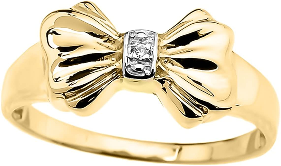 Jewel Tie Solid 14k Two Toned Gold 15 Years Birthday Filigree Ring 8.5 Size