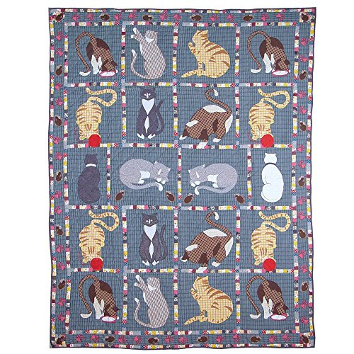 Patch Magic 50-Inch by 60-Inch Kitty Cats Throw