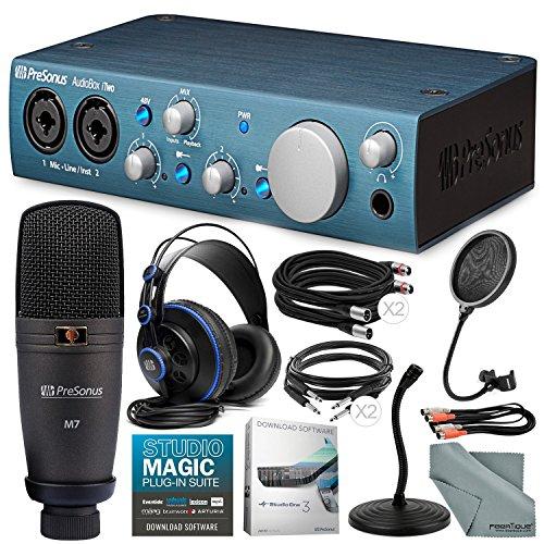PreSonus Audiobox iTwo Studio USB/iPad hardware/software Recording Kit and Accessory Bundle w/Xpix Pro Mic Stand + Cables + Fibertique Cloth + Pop Filter