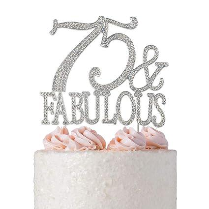 Marvelous Premium Metal 75 And Fabulous Silver Rhinestone Gem Cake Topper Funny Birthday Cards Online Elaedamsfinfo