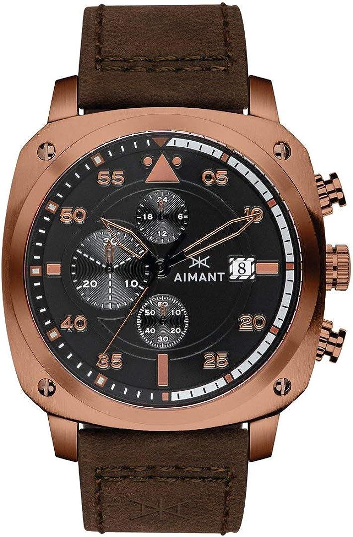 AIMANT Dakar Cronograph Watches : 45 MM Men's Analog Watch : Leather