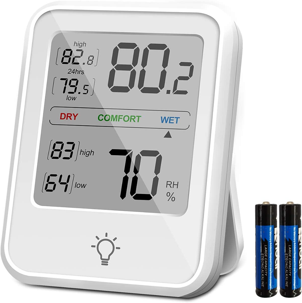 HyFo Green Digital Thermoeter Hygrometer, Thermometer Humidity Accurate Temperature Humidity Backlight Moniotor Meter for Home, Office and Greenhouse, Indoor Garden, Battery Included