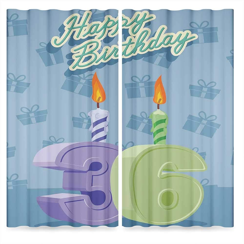 36th Birthday Decorations Window Curtains Blackout,Birthday Party 36 Candles on Baby Blue Backdrop Image,for Bedroom Living Dining Room Kids Youth Room, 2 Panel Set, 28W X 39L Inches