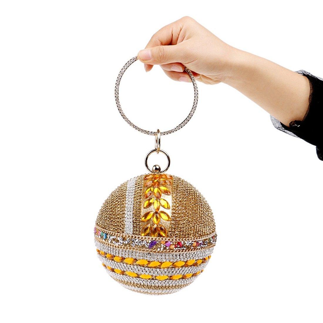 GLJJQMY Wild Evening Bag Exquisite Diamond Banquet Female Bag Lady Trend Handbag Evening Bags Color : Gold