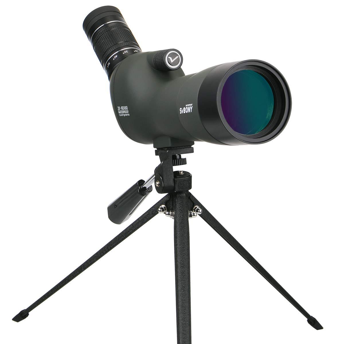 Svbony SV29 Telescopio Terrestre Impermeable de 20-60x60 Zoom Multicapa de Recubrimiento Prisma BAK4 con Trípode Ideal para Viajar Acampar y Observación de Aves (Verde del Ejército)