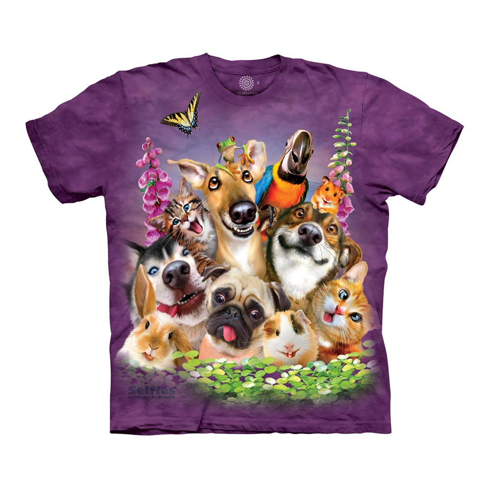 The Mountain Pet Selfie Adult T-Shirt, Purple, Large by The Mountain